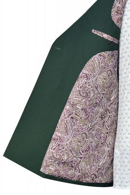 Traje a medida de doble botonadura verde para formal | Solapa enarbolada 3 bolsillos por encargo Causal Traje_7