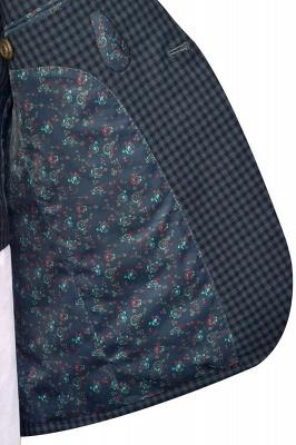 Gris oscuro peque_o botón de rejilla una solapa enarbolada traje de boda personalizado | Traje de tres piezas de un solo botonadura para esmoquin para hombre_7