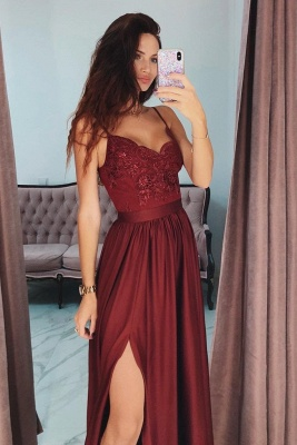 Alluring Applique Spaghetti-Strap Banquet Dresses | Side slit Sleeveless Formal Dresses with Beads_2