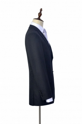 New Black Tweed Notched lapel Custom Suits for Formal | High Quality Single Breasted 2 Pockets Hand Made Wool Suit_5
