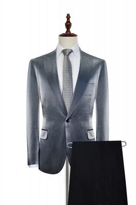 Hot Recommend Grey Velvet Custom Quinceanera Tuxedos | Peak lapel Single Breasted 2 Pocket Chambelanes Tuxedos_1