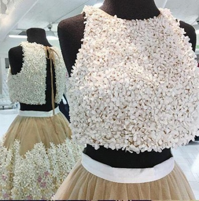 Crystal Applique Jewel Dama Dresses | Two Piece Sleeveless Short Party Dresses_3