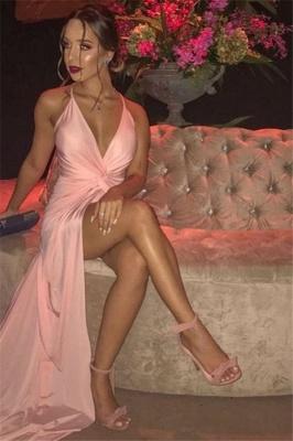 Alluring Pink Spaghetti-Straps Front-Slit Mermaid Evening Dress | Banquet Dresses Online_2