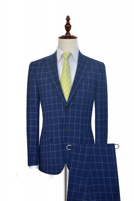 New Arrival Deep Blue Grid Wool Peak Lapel Customized Tuxedos for my Quince  | Single Breasted Two Button Unique Quinceanera Tuxedos_1