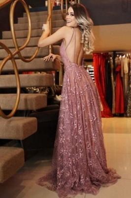 Elegant Pink Applique Sexy V-Neck Banquet Dresses | Backless Sleeveless Formal Dresses_2