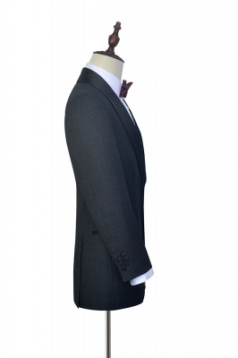 Dark Grey Black Shawl Lapel Two Bottons Quinceanera Tuxedos | Hot Recommend Single Breasted Tailored 2 Piece Suits_5