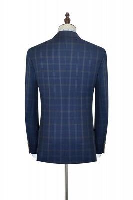 Con cuello chal de lana azul oscuro para el novio Traje de boda | Nuevo traje individual de pecho hecho a medida para hombre_4