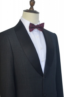 Dark Grey Black Shawl Lapel Two Bottons Quinceanera Tuxedos | Hot Recommend Single Breasted Tailored 2 Piece Suits_6