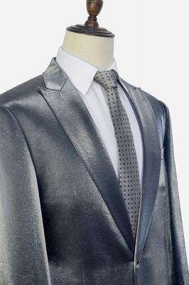 Hot Recommend Grey Velvet Custom Quinceanera Tuxedos | Peak lapel Single Breasted 2 Pocket Chambelanes Tuxedos_5