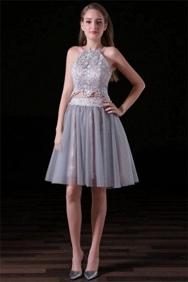 Gorgeous Halter Applique Dama Dresses | Two Piece Lace-Up Sleeveless Short Party Dresses_1