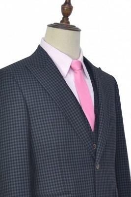 Gris oscuro peque_o botón de rejilla una solapa enarbolada traje de boda personalizado | Traje de tres piezas de un solo botonadura para esmoquin para hombre_6
