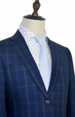 Con cuello chal de lana azul oscuro para el novio Traje de boda | Nuevo traje individual de pecho hecho a medida para hombre_6