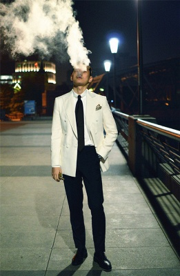 Elegant White Wool Double-Breasted Tailor Quinceanera Tuxedos | New Arrival 3 Pockets Peak Lapel Fit Chambelanes Suit_5