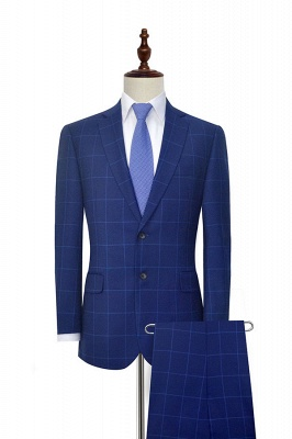 Blue Plaid Notched Lapel Custom Suit for Men | Latest Design Single Breasted Two Pockets Hand Made Chambelanes Tuxedos