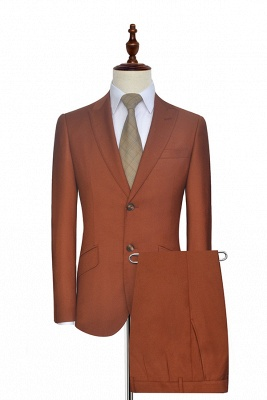 New Arrival Rust Red Two Button Custom Suit For Office | Single Breasted Peaked Lapel Tailoring Suit_1