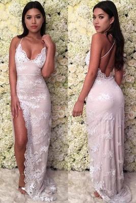 Sexy apliques cabestro vestidos de baile | lado dividida con cordones sin mangas vestidos de noche_2