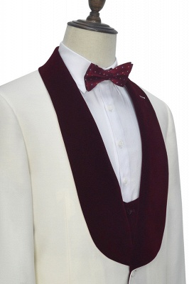 White Red Velvet Shawl Collar One Button Quinceanera Tuxedos | Latest Design Single Breasted Slim Fit Suit_7