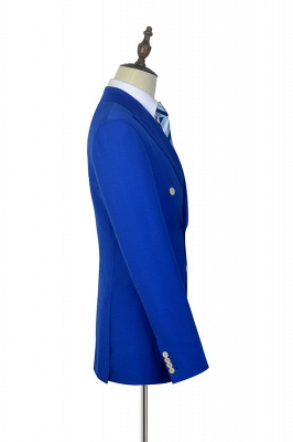 Royal Blue Double Breasted Wool Custom Suit | Fashion Peak Lapel Six Button Quinceanera Tuxedos for Chambelanes_5