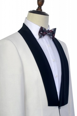 White Shawl Collar Single Breasted Chambelanes Tuxedos | New Arrival 2 Pocket Custom Suit For Men_6