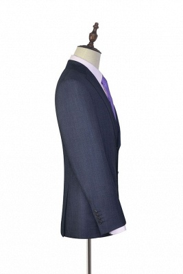 Dark Grey Wool Stripe Two botton Suit For Men | New Single Breasted Quinceanera Tuxedos_5