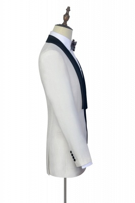 White Shawl Collar Single Breasted Chambelanes Tuxedos | New Arrival 2 Pocket Custom Suit For Men_5