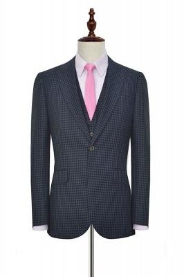 Gris oscuro peque_o botón de rejilla una solapa enarbolada traje de boda personalizado | Traje de tres piezas de un solo botonadura para esmoquin para hombre_3