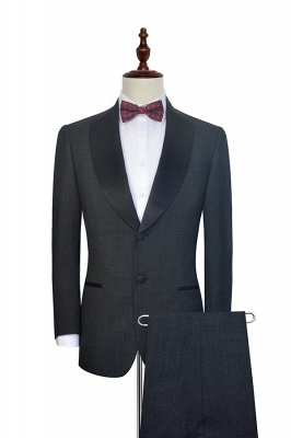 Dark Grey Black Shawl Lapel Two Bottons Quinceanera Tuxedos | Hot Recommend Single Breasted Tailored 2 Piece Suits_1