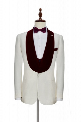 White Red Velvet Shawl Collar One Button Quinceanera Tuxedos | Latest Design Single Breasted Slim Fit Suit_3
