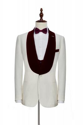 Traje de boda de un botón de terciopelo rojo chal de un botón | _ltimo dise_o de un solo traje ajustado en el pecho_3