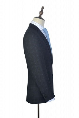Black Checked Wool Three Slant Pocket Classic Suit For Men | Single Breasted Peaked Lapel Made to Measure Tuxedos for my Quince_5