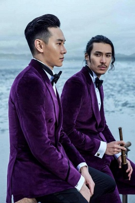 Purple Velvet Peak Lapel Custom Quinceanera Tuxedos | Modern Single Breasted One Button Chambelanes Tuxedos