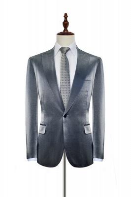 Hot Recommend Grey Velvet Custom Quinceanera Tuxedos | Peak lapel Single Breasted 2 Pocket Chambelanes Tuxedos_3
