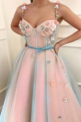 Elegant Flower Bowknot Spaghetti-Strap  Banquet Dresses | Ribbons Sheer Sleeveless Formal Dresses with Beads_2