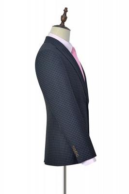 Gris oscuro peque_o botón de rejilla una solapa enarbolada traje de boda personalizado | Traje de tres piezas de un solo botonadura para esmoquin para hombre_5