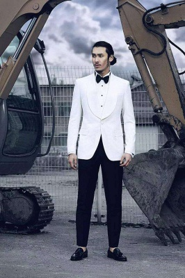 White Wool Shawl lapel Custom Suit For Men | Single Breasted One Button Quinceanera Tuxedos_3