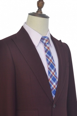 Dark Red Small grid Peak Lapel Custom Suit For Men | New Single Breasted One Button Chambelanes  Tuxedos for my Quince_5