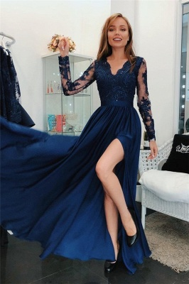 Simple  Applique Hot Sexy V-Neck Banquet Dresses | Side slit Sleeveless Alluring Formal Dresses with Sparkly Beads_1