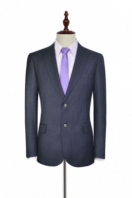 Dark Grey Wool Stripe Two botton Suit For Men | New Single Breasted Quinceanera Tuxedos_3
