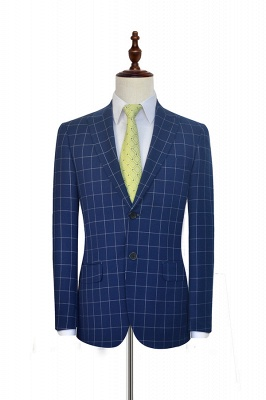 New Arrival Deep Blue Grid Wool Peak Lapel Customized Tuxedos for my Quince  | Single Breasted Two Button Unique Quinceanera Tuxedos_3