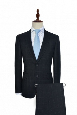 Black Checked Wool Three Slant Pocket Classic Suit For Men | Single Breasted Peaked Lapel Made to Measure Tuxedos for my Quince