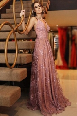 Elegant Pink Applique Sexy V-Neck Banquet Dresses | Backless Sleeveless Formal Dresses_1