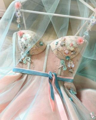 Elegante flor Bowknot Correa de espagueti vestidos de baile | Cintas sin mangas vestidos de noche con cuentas_3