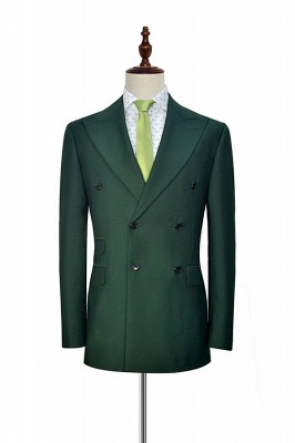 Traje a medida de doble botonadura verde para formal | Solapa enarbolada 3 bolsillos por encargo Causal Traje_3