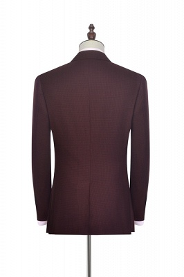 Dark Red Small grid Peak Lapel Custom Suit For Men | New Single Breasted One Button Chambelanes  Tuxedos for my Quince_3