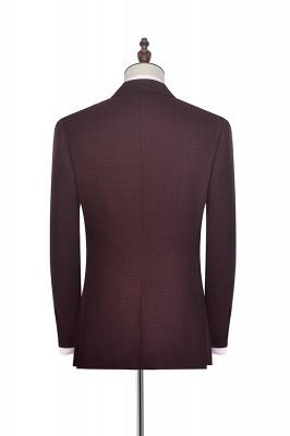 Traje a medida de solapa pico rojo oscuro peque_a solapa para hombres | Nuevo traje de negocios de un botón con botones_3