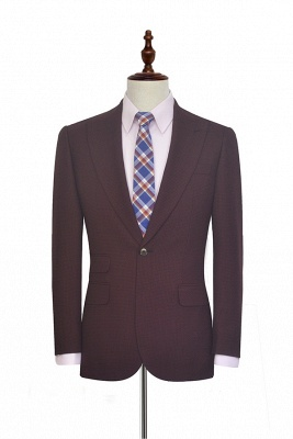 Dark Red Small grid Peak Lapel Custom Suit For Men | New Single Breasted One Button Chambelanes  Tuxedos for my Quince_1