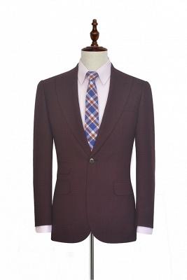 Traje a medida de solapa pico rojo oscuro peque_a solapa para hombres | Nuevo traje de negocios de un botón con botones_1