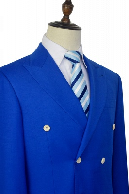 Royal Blue Double Breasted Wool Custom Suit | Fashion Peak Lapel Six Button Quinceanera Tuxedos for Chambelanes_6