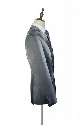 Hot Recommend Grey Velvet Custom Quinceanera Tuxedos | Peak lapel Single Breasted 2 Pocket Chambelanes Tuxedos_4