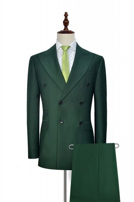 Green Double Breasted Tailored Suit For Formal | Peaked Lapel 3 Pockets Custom Made Causal Suit